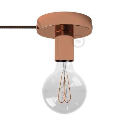 Spostaluce, bakrena kovinska svetilka s tekstilnim kablom in stranskima izhodoma zanje