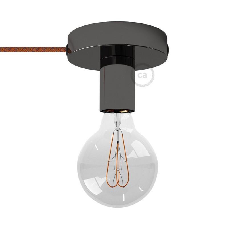 Spostaluce, biserno črna kovinska svetilka s tekstilnim kablom in stranskima izhodoma zanje