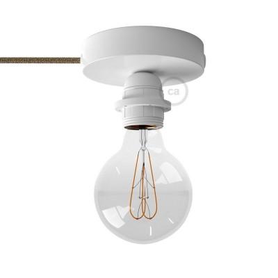 Spostaluce, bela kovinska svetilka z grlom E27 z dvema navojnima obročkoma in tekstilnim kablom ter stranskima izhodoma