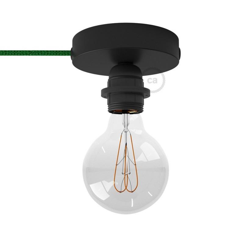 Spostaluce, črna kovinska svetilka z grlom E27 z dvema navojnima obročkoma in tekstilnim kablom ter stranskima izhodoma za kable