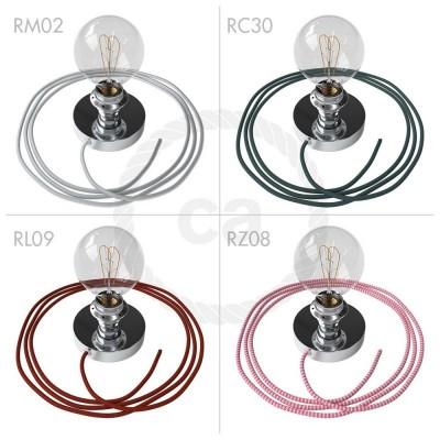 Spostaluce, kromirana kovinska svetilka z grlom E27 z dvema navojnima obročkoma in kablom ter stranskima izhodoma
