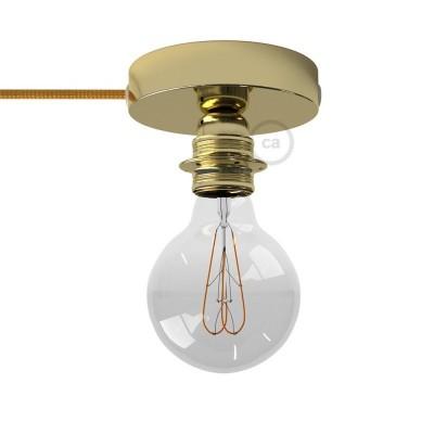 Spostaluce, medeninasta kovinska svetilka z grlom E27 z dvema navojnima obročkoma in kablom ter stranskima izhodoma