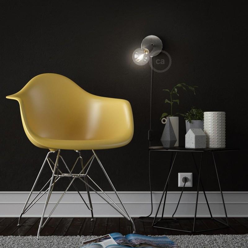 Spostaluce Metallo 90°, kromirano prilagodljivo svetilo s tekstilnim kablom in stranskima izhodoma