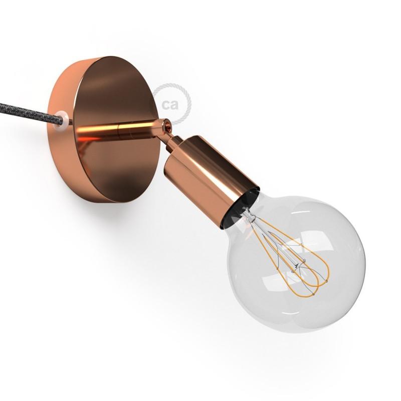 Spostaluce Metallo 90°, bakreno prilagodljivo svetilo s tekstilnim kablom in stranskima izhodoma