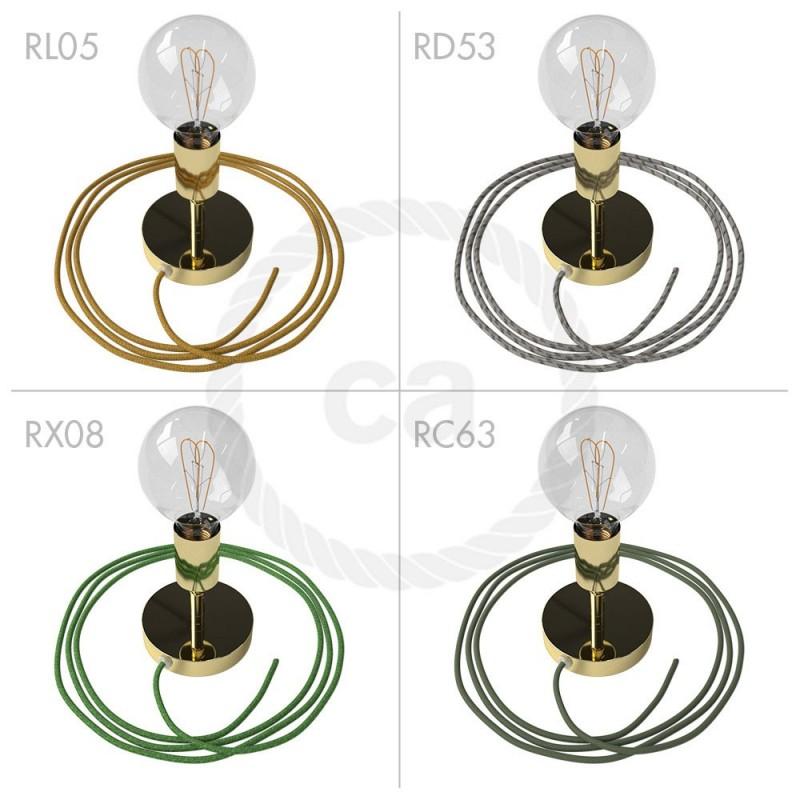 Spostaluce Metallo 90°, medeninast prilagodljivo svetilo s tekstilnim kablom in stranskima izhodoma