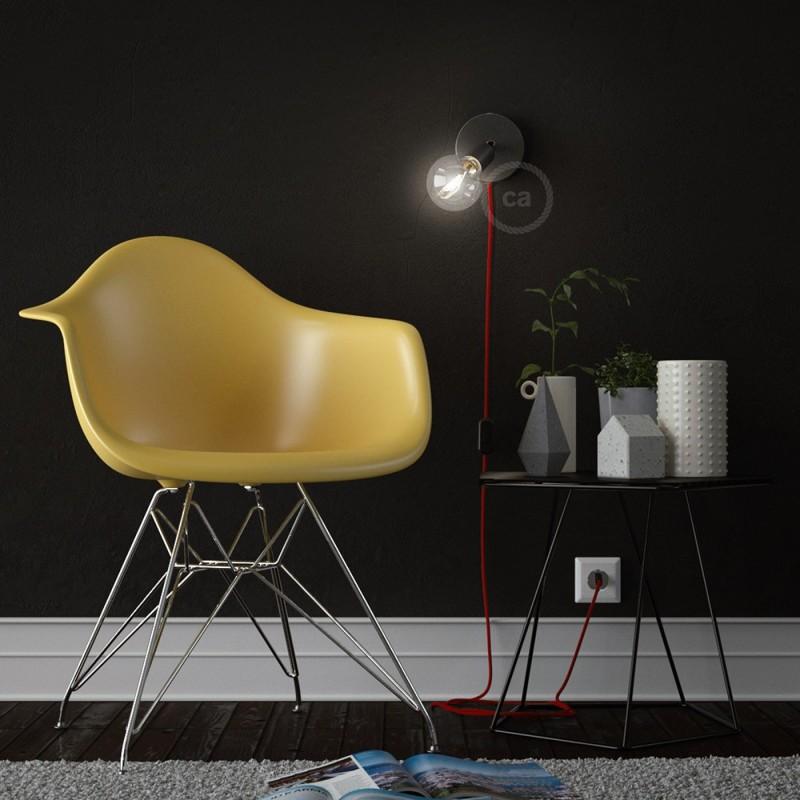Spostaluce Metallo 90°, biserno črno prilagodljivo svetilo s tekstilnim kablom in stranskima izhodoma