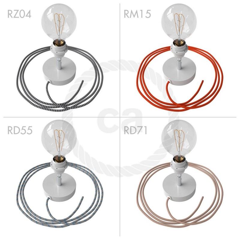Spostaluce Metallo 90°, belo svetilo z grlom E27 z dvema navojnima obročkoma, tekstilnim kablom in dvema stranskima izhodoma