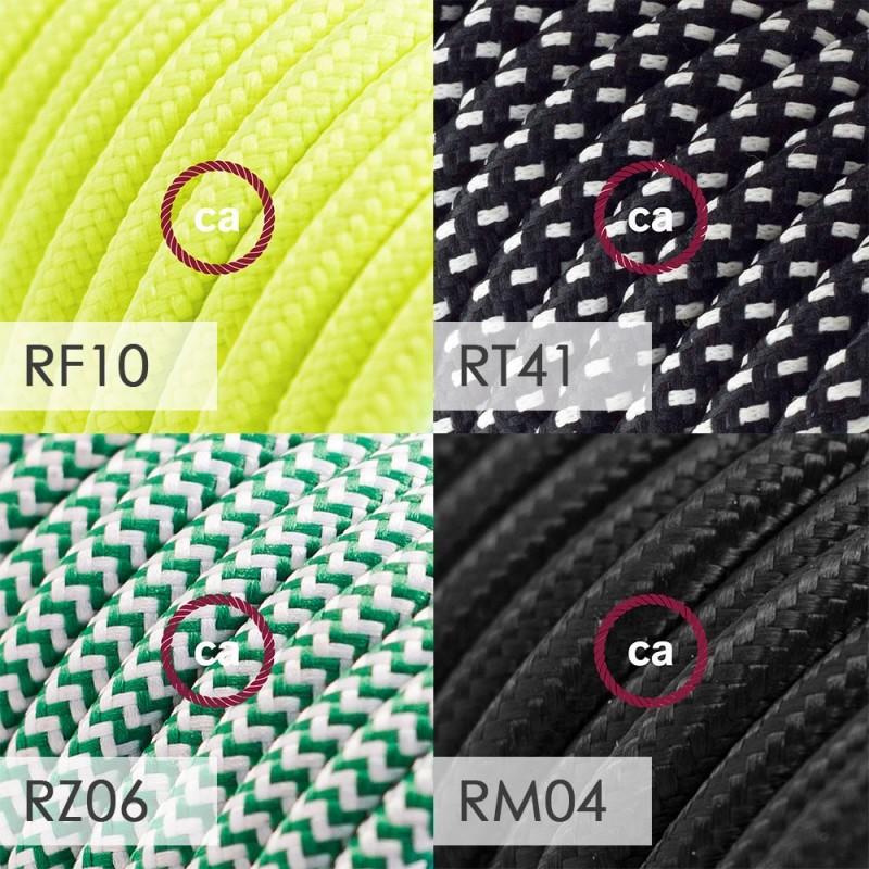 Spostaluce Metallo 90°, črno svetilo z grlom E27 z dvema navojnima obročkoma, tekstilnim kablom in dvema stranskima izhodoma
