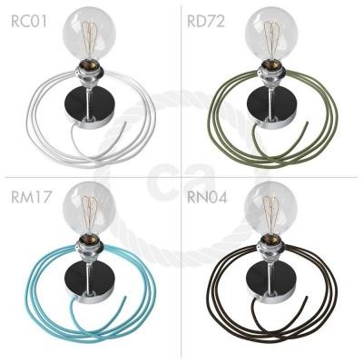 Spostaluce Metallo 90°, kromirano svetilo z grlom E27 z dvema navojnima obročkoma, tekstilnim kablom in stranskima izhodoma