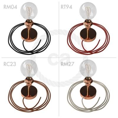 Spostaluce Metallo 90°, bakreno svetilo z grlom E27 z dvema navojnima obročkoma, tekstilnim kablom in dvema stranskima izhodoma