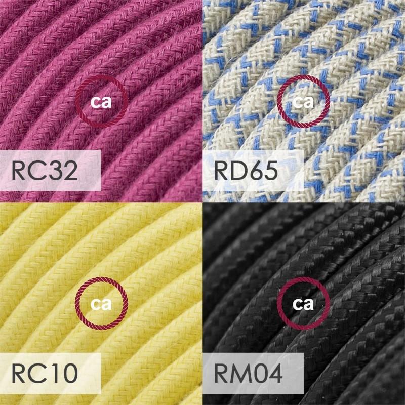 Spostaluce Metallo 90°, biserno črno svetilo z grlom E27 z navojnima obročkoma in tekstilnim kablom in dvema stranskima izhodoma