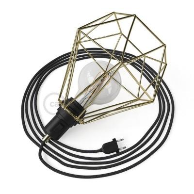 Table Snake namizna svetilka, z medeninasto okrasno kletko Diamant E27 z vtikačem