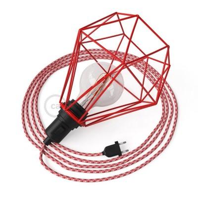 Table Snake namizna svetilka, z rdečo okrasno kletko Diamant E27 z vtikačem