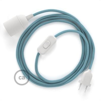 SnakeBis komplet za svetilko s tekstilnim kablom - Svetlo Moder Ocean Bombaž RC53
