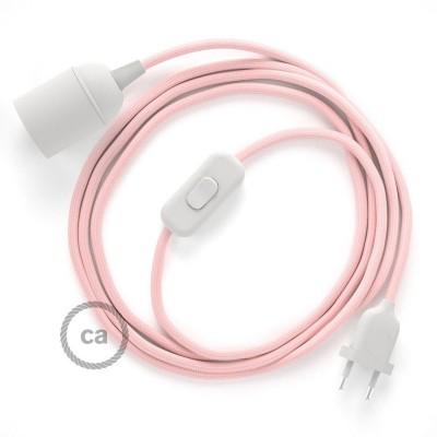 SnakeBis komplet za svetilko s tekstilnim kablom - Baby Pink Rejon RM16