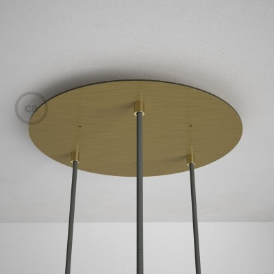 Okrogla 35cm XXL cilindrična rozeta, mat medenina, 3 izhodi + dodatki