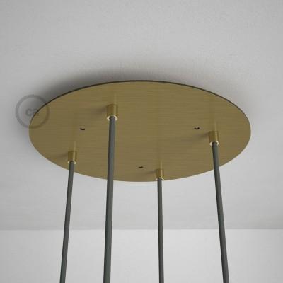 Okrogla 35cm XXL cilindrična rozeta, mat medenina, 4 izhodi + dodatki