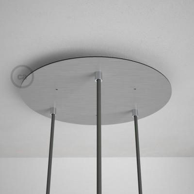 Okrogla 35cm XXL cilindrična rozeta, mat srebrna, 3 izhodi + dodatki