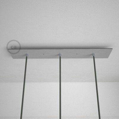 Pravokotna 60x12cm XXL rozeta, mat srebrna, 3 izhodi + dodatki