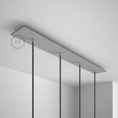 Pravokotna 90x12cm XXL rozeta, mat srebrna, 4 izhodi + dodatki