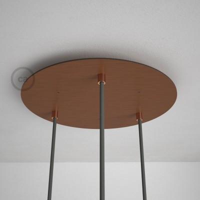 Okrogla 35cm XXL cilindrična rozeta, mat bakrena, 3 izhodi + dodatki