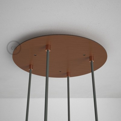 Okrogla 35cm XXL cilindrična rozeta, mat bakrena, 4 izhodi + dodatki