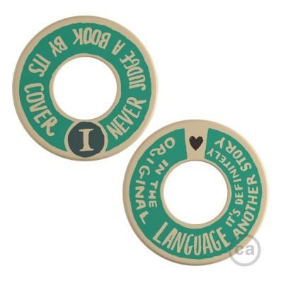 MINI-UFO: obojestranski leseni disk iz zbirke READING BALLSH*T, napis COVER + ORIGINAL LANGUAGE