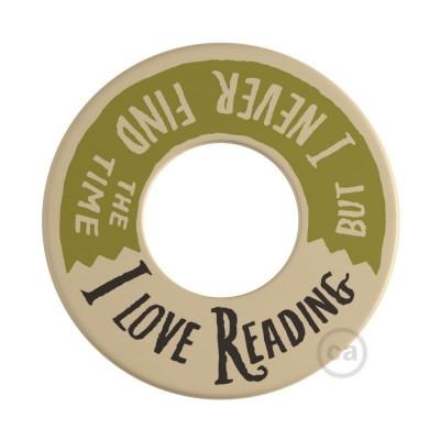 MINI-UFO: obojestranski leseni disk iz zbirke READING BALLSH*T, napis 2 PAGES + LOVE READING