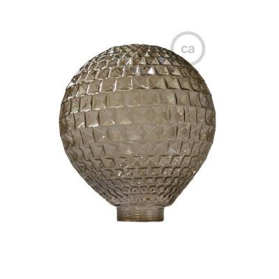 Steklena krogla za dekorativno svetilko G125 Dimljena z diamantnim vzorcem