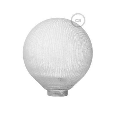 Steklena krogla za dekorativno svetilko G125 Bela z navpičnimi črtami