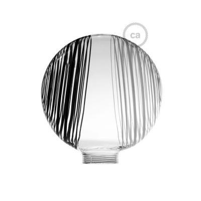 Steklena krogla za dekorativno svetilko G125 Bela z belo-črnimi krogi