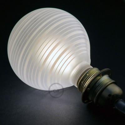 Modularna dekorativna LED svetilka s kroglo Bela z vodoravnimi črtami 5W E27 2700K Zatemnilna