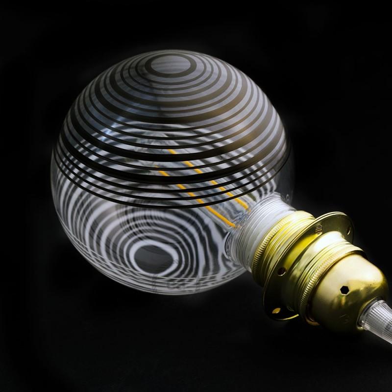 Modularna dekorativna LED svetilka s kroglo Bela z belo-črnimi krogi 5W E27 2700K Zatemnilna