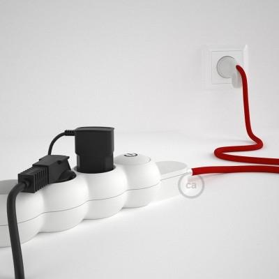 Razdelilnik z električnim kablom, prekrit z rdečim RM09 blagom in udobnim šuko vtikačem