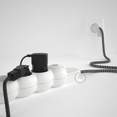 Razdelilnik z električnim kablom prekrit z zigzag črnim RZ04 blagom in udobnim šuko vtikačem