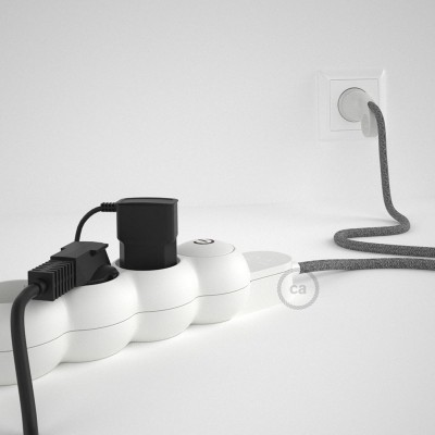 Napajalni razdelilnik s tekstilnim električnim kablom Siv Naravni Lan RN02 in udobnim šuko vtikačem