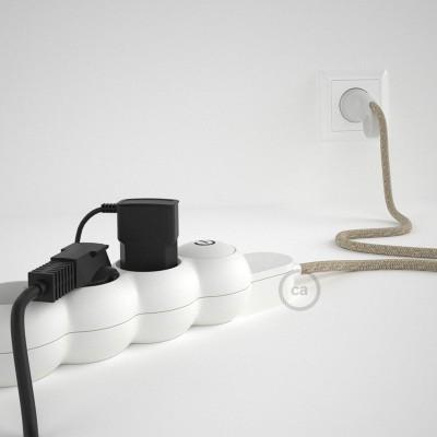 Napajalni razdelilnik s tekstilnim električnim kablom Naravni Lan RN01 in udobnim šuko vtikačem