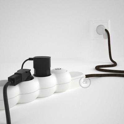 Napajalni razdelilnik s tekstilnim električnim kablom Rjavi Naravni Lan RN04 in udobnim šuko vtikačem