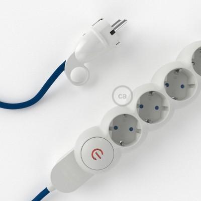 Napajalni razdelilnik s tekstilnim električnim kablom Moder RM12 in udobnim šuko vtikačem