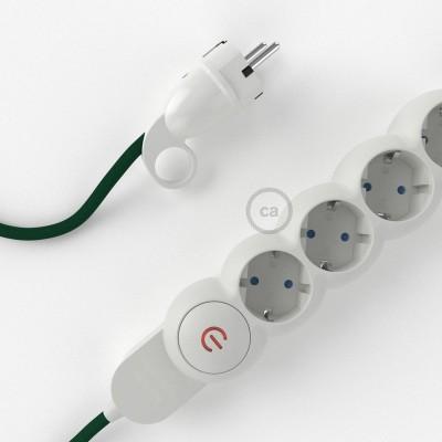 Napajalni razdelilnik s tekstilnim električnim kablom Temno Zelen RM21 in udobnim šuko vtikačem