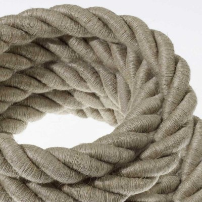 2XL električna vrv, električen kabel 3x0,75, prekrit z naravnim lanom. Premer 24mm.