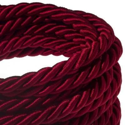 XL električna vrv, električen kabel 3x0,75, prekrit s temno bordo svetlečim blagom. Premer 16mm.