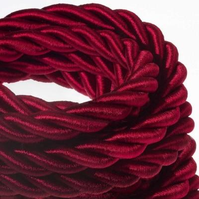 2XL električna vrv, električen kabel 3x0,75, prekrit s temno bordo svetlečim blagom. Premer 24mm.
