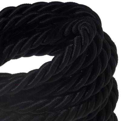 XL električna vrv, električen kabel 3x0,75, prekrit s črnim svetlečim blagom. Premer 16mm.