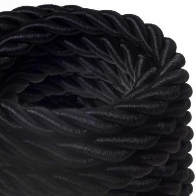 2XL električna vrv, električen kabel 3x0,75, prekrit s črnim svetlečim blagom. Premer 24mm.