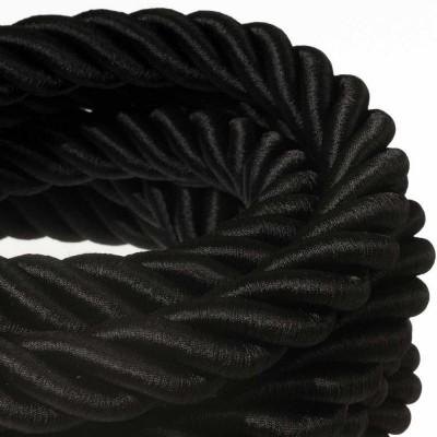 3XL električna vrv, električen kabel 3x0,75, prekrit s črnim svetlečim blagom. Premer 30mm.