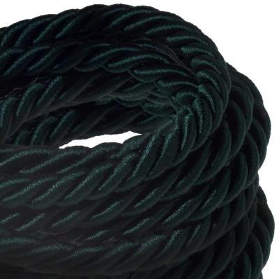 XL električna vrv, električen kabel 3x0,75, prekrit s temno zelenim svetlečim blagom. Premer 16mm.