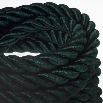 2XL električna vrv, električen kabel 3x0,75, prekrit s temno zelenim svetlečim blagom. Premer 24mm.