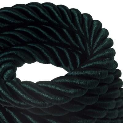 3XL električna vrv, električen kabel 3x0,75, prekrit s temno zelenim svetlečim blagom. Premer 30mm