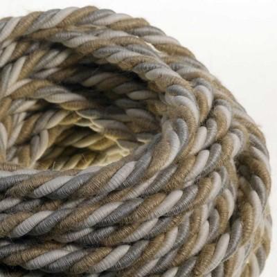 XL električna vrv, električen kabel 3x0,75, prekrit z naravnim lanom, bombažem in juto, Country. Premer 16mm.